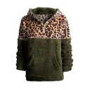 Womens Winter Warm Faux Fur Teddy Leopard Print Patchwork Half-Zip Long Sleeves Hoodie With Pockets