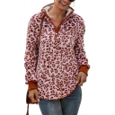 New Stylish Leopard Pattern Button Front Embellished Long Sleeve Fluffy Pullover Sweatshirt