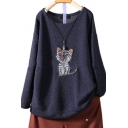 Cute Cartoon Cat Embroidered Round Neck Long Sleeve Loose Leisure Fluffy Fleece Sweatshirt