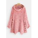 New Chic Color Block Polka Dot Pattern Cowl Neck Long Sleeve Asymmetric Hem Loose Sweatshirt