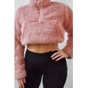 Basic Plain Half-Zip Stand Up Collar Long Sleeve Cropped Teddy Sweatshirt