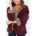 New Fashion Reversible Plain Long Sleeve Faux Fur Teddy Zip Up Hoodie