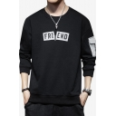 Mens Popular Letter FRIEND Printed Pocket Patched Side Long Sleeve Round Neck Casual Pullover Sweatshirt