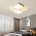 Modern Square Flush Mount Ceiling Light with Metal Shade and Acrylic Diffuser Led White Flush Light