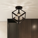 Black Square Cage Semi-Flush Mount Light Contemporary Metal 1 Light Ceiling Fixture with Crystal Shade for Foyer