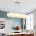 White Glass Rectangle Island Light Contemporary 8 Bulbs Pendant Lamp with Diffuser