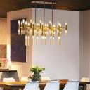 Vertical Tube Island Lighting Contemporary Metal 54 Lights Kitchen Pendant Light in Gold