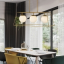 Orb Shade Island Lighting with Black/Gold Metal Frame Modernism Triple Light Opal Glass Hanging Lamp