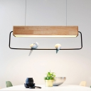 Wooden Rectangular Island Lamp Nordic Style LED Ceiling Hanging Light with Bird in Warm/White