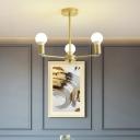 Modern Radial Hanging Ceiling Light Metal Adjustable 3/4/6/8 Heads Gold Indoor Lighting for Living Room