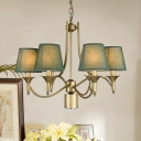 Brass Pendant Lighting with Army Green/Green/White Fabric Shade Vintage 6 Lights Living Room Lighting