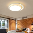 Simple Circular Flushmount Light Acrylic Warm/White Lighting LED Ceiling Lamp in White for Bedroom