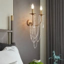Metallic Candle Wall Lamp 2 Heads Retro Style Brass Wall Lamp with Crystal Bead for Bedside