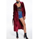 Velvet Long Sleeve Notched Lapel Collar Tie Waist Plain Longline Trench Coat