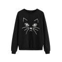 Girls Simple Cat Print Round Neck Long Sleeve Graphic Sweatshirt