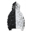 Mens Skull Camouflage Pattern Black and White Color Block Zip Up Hoodie with Zipper Pockets