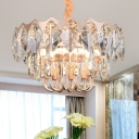 Modern Round Chandelier with Clear Crystal Bead Height Adjustable 10 Lights Hanging Light Fixture in Gold