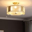 4 Lights Drum Semi Flush Light Clear Dimple Glass Vintage Bedroom Ceiling Lighting in Brass