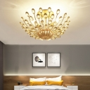 Gold Semi Flush Ceiling Light with Crystal Bead Metallic Vintage Triple Light Semi Flush Mount Lighting