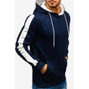 Leisure Colorblocked Stripe Panel Kangaroo Pocket Slim Fit Drawstring Hoodie for Men