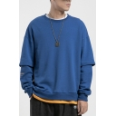Trendy Letter Print Round Neck False Two-Pieces Panelled Pullover Sweatshirt