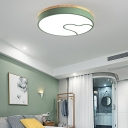 Led Nordic Flush Light with Metal Round Shade Green/Grey/White Ceiling Flush Lamp in Warm/White