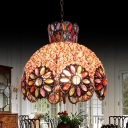 Metal Scalloped Pendant Lamp with Copper Dome Shade 3 Bulbs Vintage Ceiling Hanging Light with Crystal