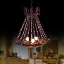 Metal Shade Bohemia Pendant Lamp with Crystal Bead 3 Lights Indoor Suspension Light in Antique Copper