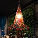Antique Style Flared Hanging Lamp 1 Light Metal Restaurant Pendant Lighting in Copper