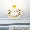 Clear Crystal Maple Leaf Pendant Lighting Modern Loft 5 Lights Gold Chandelier Light for Living Room