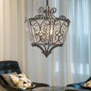Clear Crystal Lantern Pendant Lighting Traditional 4 Bulbs Matte Black Hanging Ceiling Light for Living Room