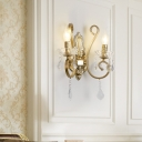 Candle Crystal Wall Lighting 2 Heads Modernist Wall Sconce Light with Metal Curved Arm in Brass