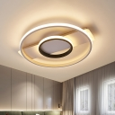 Led Double Ring Flush Mount Ceiling Light Minimalist Metal Indoor Flush Lamp with White Linear Canopy, White Light