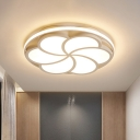 White Bloom Flush Light with Ring Integrated Led Modern Ceiling Flush Mount Light, White Light
