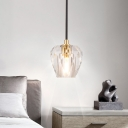 1 Light Mini Hanging Ceiling Light Contemporary Clear Faceted Crystal Pendant Light for Bedside
