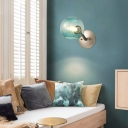 Blue/Clear/White Glass Globe Wall Lamp Modern Nordic 1 Light Wall Sconce Light for Living Room