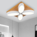 4/8 Lights Oval Flush Ceiling Light Nordic Wood Flush Mount Lamp in Warm/White for Living Room