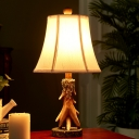 1 Head Bell Table Lamp Lodge Style White Fabric Shade Table Lighting for Bedroom