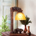 Amber Glass Pinecone Table Light Lodge 1 Head Decorative Standing Table Light with Bear