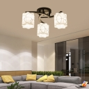 Swirl Semi Flushmount Light with Scalloped Drum Glass Shade 3/5/8 Lights Traditional Flush Light in Black