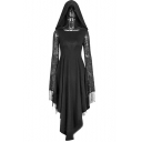 Womens Chic Lace Long Sleeve Spider Web Cutout Hooded Asymmetric Hem Black Maxi Dress