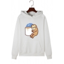 Cartoon Bradypod with Coffee Pattern Drawstring Hood Pullover Hoodie