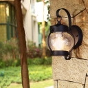 Clear Seedy Glass Lantern/Cylinder Sconce Wall Light 1 Bulb Retro Rustic Wall Lamp Sconce in Black