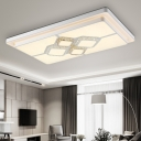 White Square/Rectangle Flush Lamp Modern Metal Led Bedroom Flush Ceiling Light with Crystal Accents