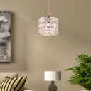 Gold Drum Pendant Lamp Modern Clear Crystal 1 Light Hanging Ceiling Light for Living Room, 6