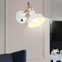 White Barn Wall Sconce Lighting Contemporary Metallic 1 Light Wall Mount Light Fixture with Switch