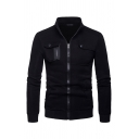 Fall Fashion Stand Collar Long-Sleeved Multi-Pocket Casual Zip Up Sweatshirt