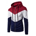 Color-Blocking Patch Long Sleeve Zipper Slim Fit Drawstring Hoodie