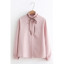 Womens Elegant Bow Tied Neck Single Breasted Long Sleeve Plain Oversized Shirt