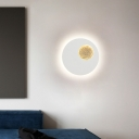 Black/White Round Wall Lighting Simple Modern Led Metal Bedroom Wall Mount Light in Warm/White